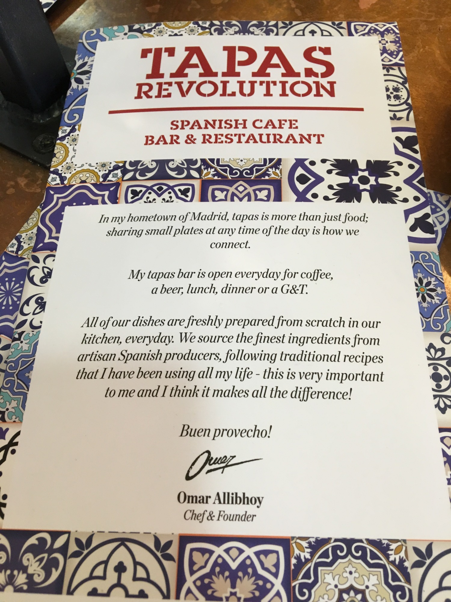 Tapas Revolution menu