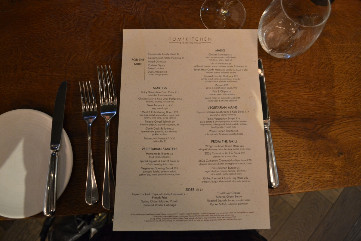 Gastronomic Gorman Tom's Kitchen Birmingham Review Menu